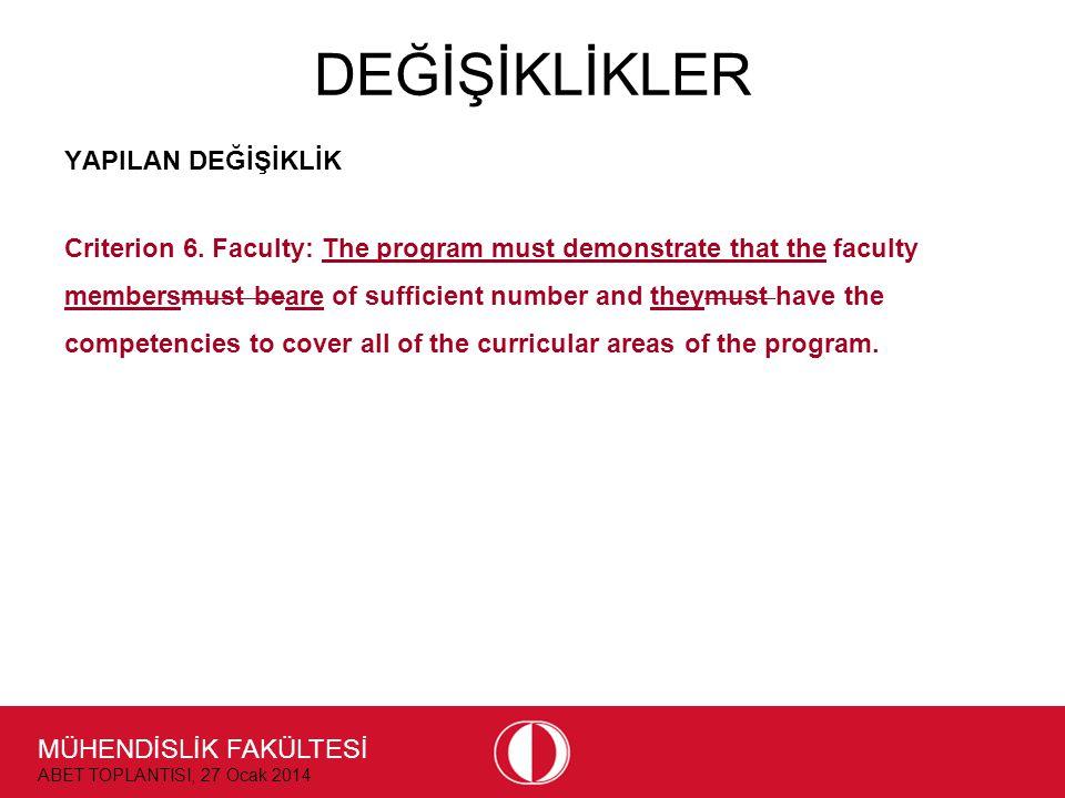 MÜHENDİSLİK FAKÜLTESİ ABET TOPLANTISI, 27 Ocak 2014 DEĞİŞİKLİKLER YAPILAN DEĞİŞİKLİK Criterion 6. Faculty: The program must demonstrate that the facul