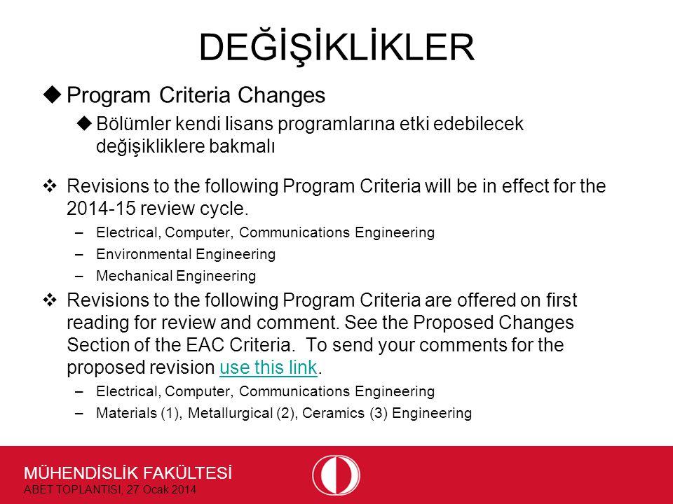 MÜHENDİSLİK FAKÜLTESİ ABET TOPLANTISI, 27 Ocak 2014 DEĞİŞİKLİKLER  Program Criteria Changes  Bölümler kendi lisans programlarına etki edebilecek değişikliklere bakmalı  Revisions to the following Program Criteria will be in effect for the 2014-15 review cycle.