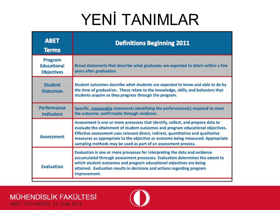MÜHENDİSLİK FAKÜLTESİ ABET TOPLANTISI, 27 Ocak 2014 YENİ TANIMLAR