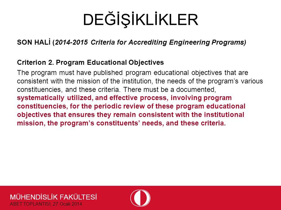 MÜHENDİSLİK FAKÜLTESİ ABET TOPLANTISI, 27 Ocak 2014 DEĞİŞİKLİKLER SON HALİ (2014-2015 Criteria for Accrediting Engineering Programs) Criterion 2. Prog