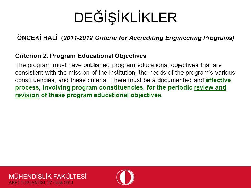 MÜHENDİSLİK FAKÜLTESİ ABET TOPLANTISI, 27 Ocak 2014 DEĞİŞİKLİKLER ÖNCEKİ HALİ (2011-2012 Criteria for Accrediting Engineering Programs) Criterion 2.