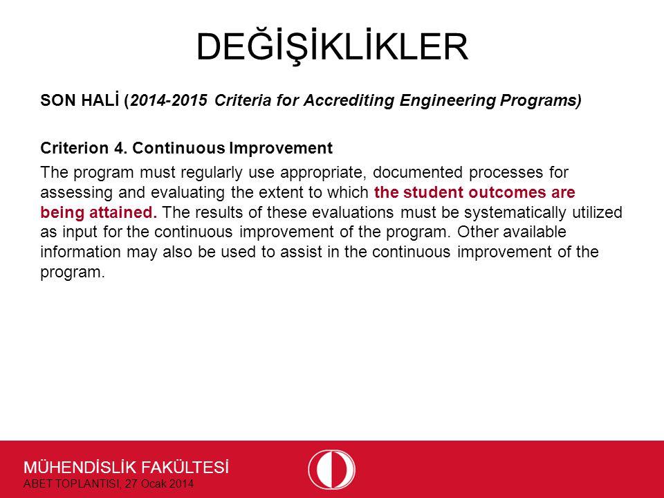 MÜHENDİSLİK FAKÜLTESİ ABET TOPLANTISI, 27 Ocak 2014 DEĞİŞİKLİKLER SON HALİ (2014-2015 Criteria for Accrediting Engineering Programs) Criterion 4. Cont