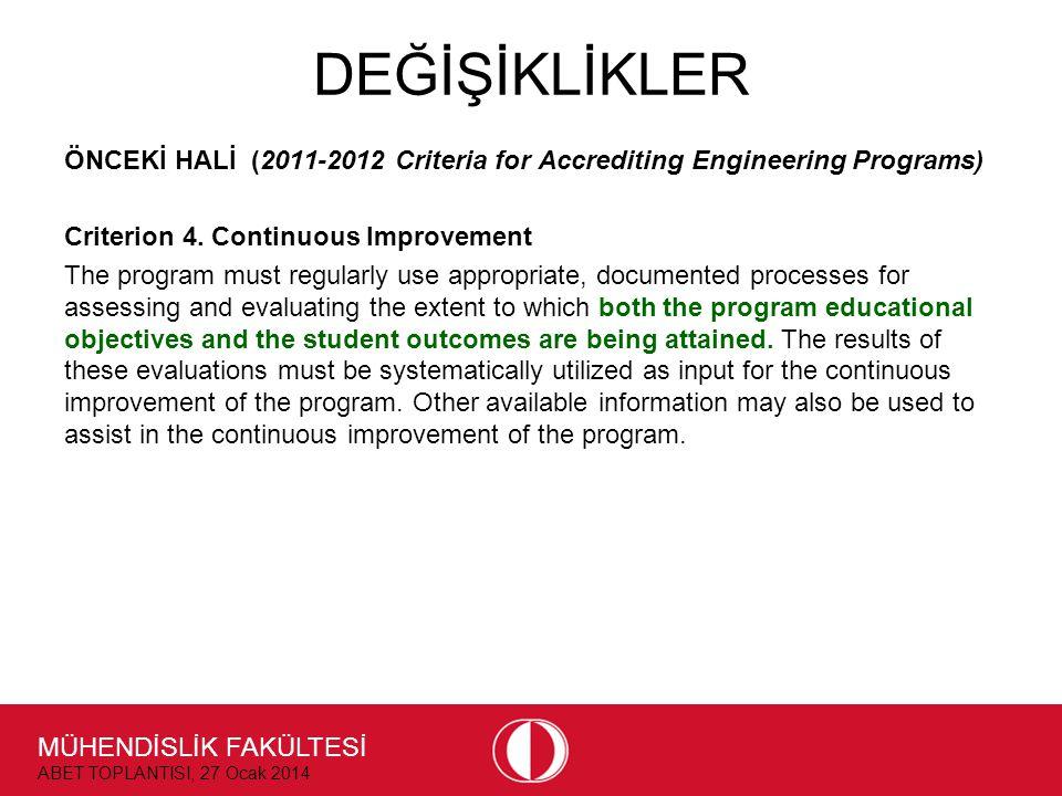 MÜHENDİSLİK FAKÜLTESİ ABET TOPLANTISI, 27 Ocak 2014 DEĞİŞİKLİKLER ÖNCEKİ HALİ (2011-2012 Criteria for Accrediting Engineering Programs) Criterion 4.