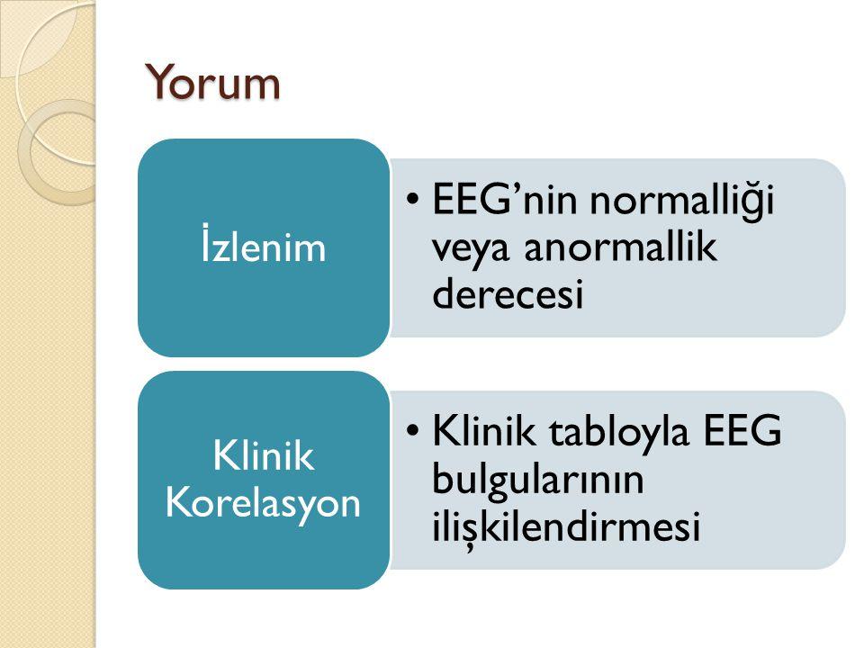 Yorum •EEG'nin normalli ğ i veya anormallik derecesi İ zlenim •Klinik tabloyla EEG bulgularının ilişkilendirmesi Klinik Korelasyon