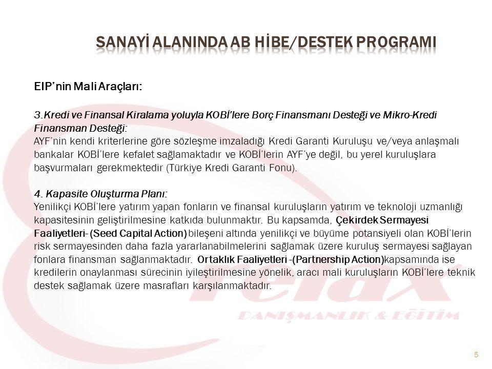 5 EIP'nin Mali Araçları: 3.Kredi ve Finansal Kiralama yoluyla KOBİ'lere Borç Finansmanı Desteği ve Mikro-Kredi Finansman Desteği: AYF'nin kendi kriterlerine göre sözleşme imzaladığı Kredi Garanti Kuruluşu ve/veya anlaşmalı bankalar KOBİ'lere kefalet sağlamaktadır ve KOBİ'lerin AYF'ye değil, bu yerel kuruluşlara başvurmaları gerekmektedir (Türkiye Kredi Garanti Fonu).