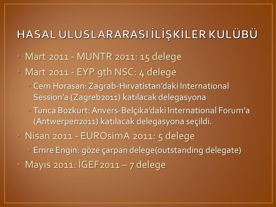 • Mart 2011 - MUNTR 2011: 15 delege • Mart 2011 - EYP 9th NSC: 4 delege • Cem Horasan: Zagrab-Hırvatistan'daki International Session'a (Zagreb2011) katılacak delegasyona • Tunca Bozkurt: Anvers-Belçika'daki International Forum'a (Antwerpen2011) katılacak delegasyona seçildi.