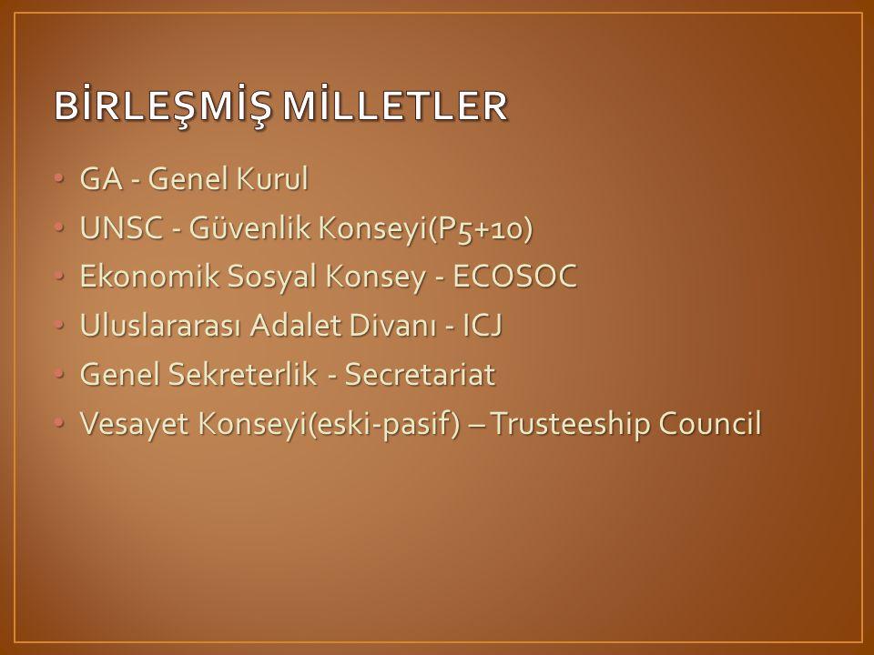 • GA - Genel Kurul • UNSC - Güvenlik Konseyi(P5+10) • Ekonomik Sosyal Konsey - ECOSOC • Uluslararası Adalet Divanı - ICJ • Genel Sekreterlik - Secretariat • Vesayet Konseyi(eski-pasif) – Trusteeship Council