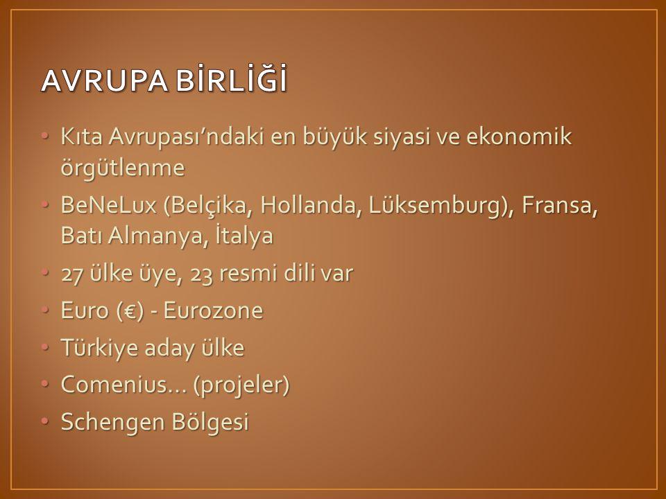 • Kıta Avrupası'ndaki en büyük siyasi ve ekonomik örgütlenme • BeNeLux (Belçika, Hollanda, Lüksemburg), Fransa, Batı Almanya, İtalya • 27 ülke üye, 23 resmi dili var • Euro (€) - Eurozone • Türkiye aday ülke • Comenius...