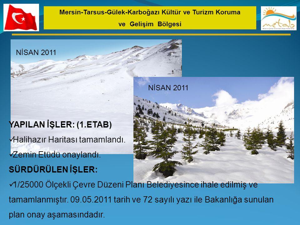 NİSAN 2011 Mersin-Tarsus-Gülek-Karboğazı Kültür ve Turizm Koruma ve Gelişim Bölgesi YAPILAN İŞLER: (1.ETAB)  Halihazır Haritası tamamlandı.  Zemin E