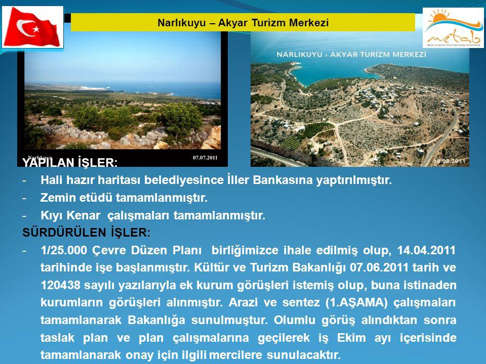 Narlıkuyu – Akyar Turizm Merkezi YAPILAN İŞLER: -Hali hazır haritası belediyesince İller Bankasına yaptırılmıştır. -Zemin etüdü tamamlanmıştır. -Kıyı