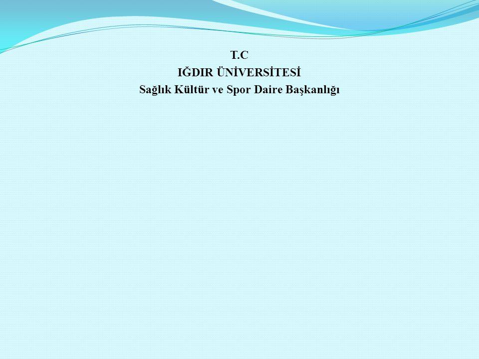 T.C IĞDIR ÜNİVERSİTESİ Sağlık Kültür ve Spor Daire Başkanlığı