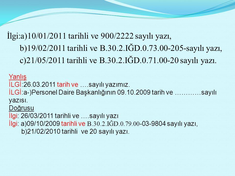 İlgi:a)10/01/2011 tarihli ve 900/2222 sayılı yazı, b)19/02/2011 tarihli ve B.30.2.IĞD.0.73.00-205-sayılı yazı, c)21/05/2011 tarihli ve B.30.2.IĞD.0.71
