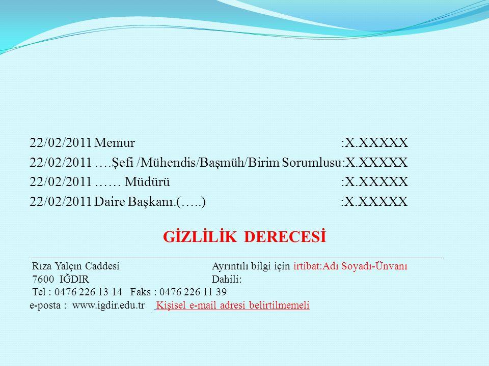 22/02/2011 Memur :X.XXXXX 22/02/2011 ….Şefi /Mühendis/Başmüh/Birim Sorumlusu:X.XXXXX 22/02/2011 …… Müdürü :X.XXXXX 22/02/2011 Daire Başkanı.(…..) :X.X