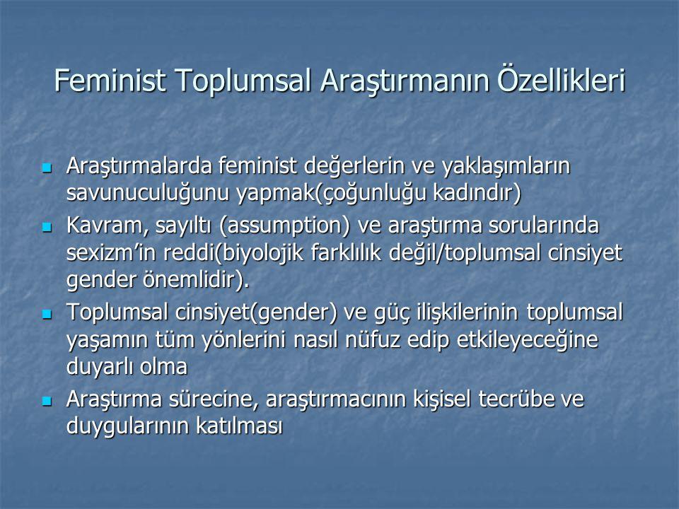 Feminist Toplumsal Araştırmanın Özellikleri  Araştırmalarda feminist değerlerin ve yaklaşımların savunuculuğunu yapmak(çoğunluğu kadındır)  Kavram,