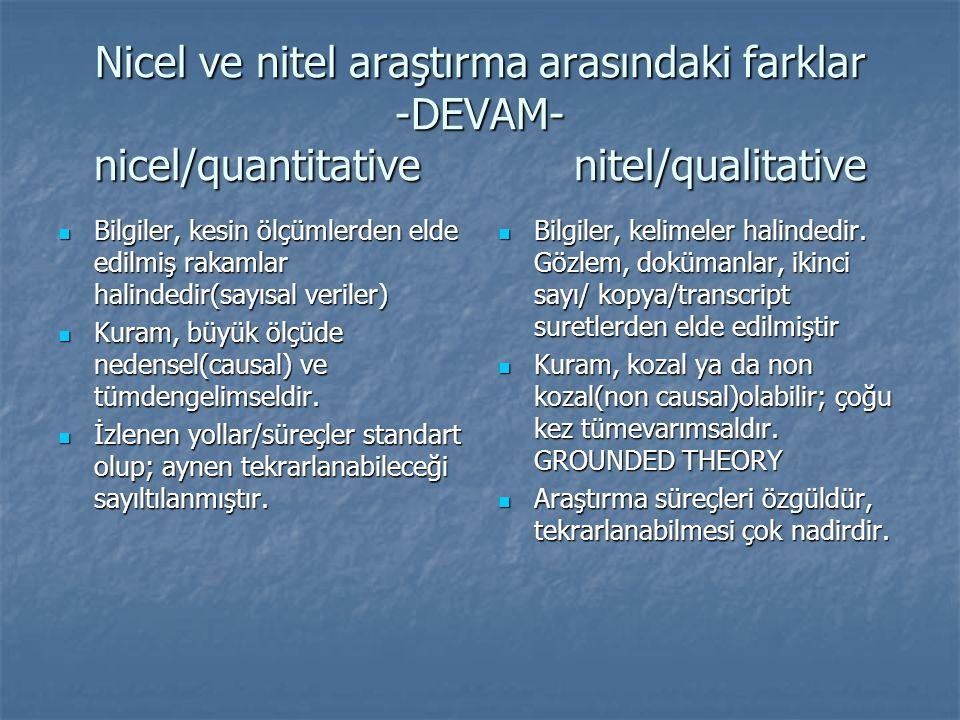 Nicel ve nitel araştırma arasındaki farklar -DEVAM- nicel/quantitativenitel/qualitative  Bilgiler, kesin ölçümlerden elde edilmiş rakamlar halindedir