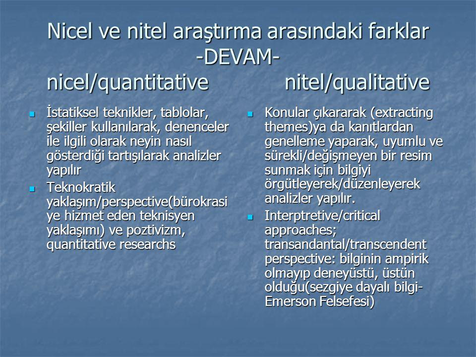 Nicel ve nitel araştırma arasındaki farklar -DEVAM- nicel/quantitativenitel/qualitative  İstatiksel teknikler, tablolar, şekiller kullanılarak, denen