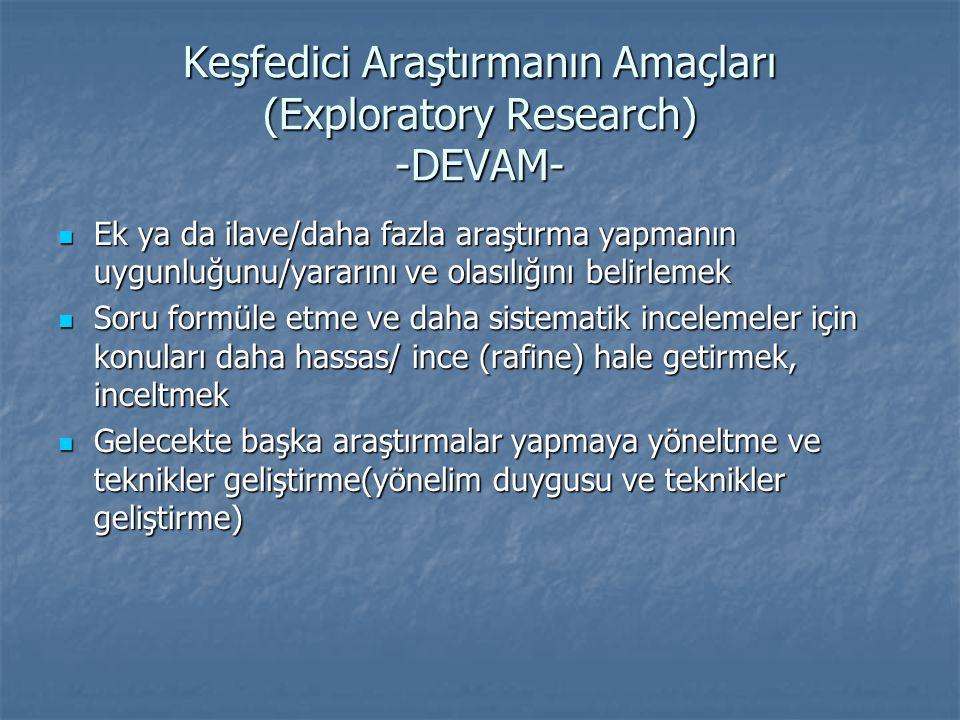 Keşfedici Araştırmanın Amaçları (Exploratory Research) -DEVAM-  Ek ya da ilave/daha fazla araştırma yapmanın uygunluğunu/yararını ve olasılığını beli