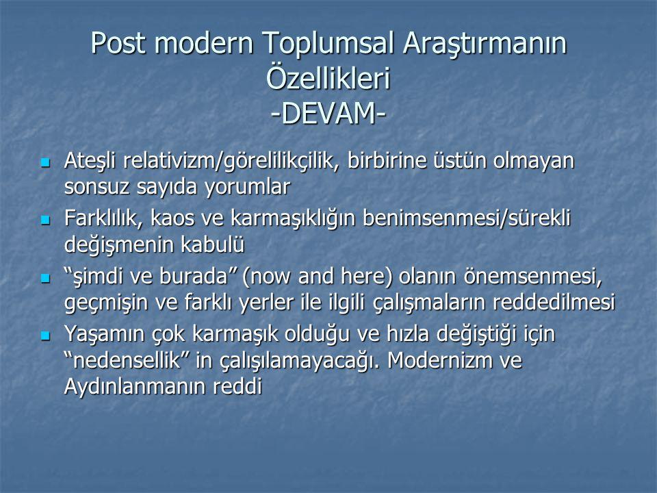 Post modern Toplumsal Araştırmanın Özellikleri -DEVAM-  Araştırmanın, hiçbir zaman gerçek toplumsal düzeyde olup biteni yansıtamayacağı iddiası.