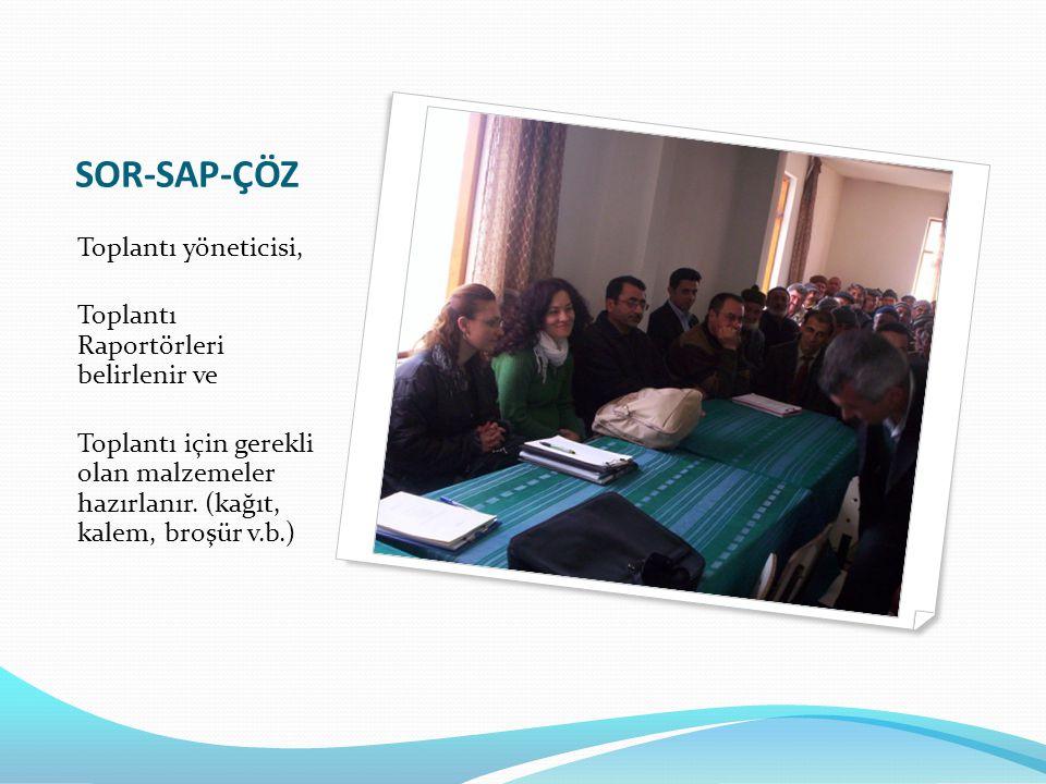 SOR-SAP-ÇÖZ Toplantı yöneticisi, Toplantı Raportörleri belirlenir ve Toplantı için gerekli olan malzemeler hazırlanır. (kağıt, kalem, broşür v.b.)