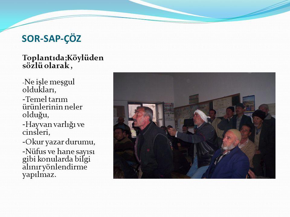 SOR-SAP-ÇÖZ Toplantıda;Köylüden sözlü olarak, - Ne işle meşgul oldukları, -Temel tarım ürünlerinin neler olduğu, -Hayvan varlığı ve cinsleri, -Okur ya