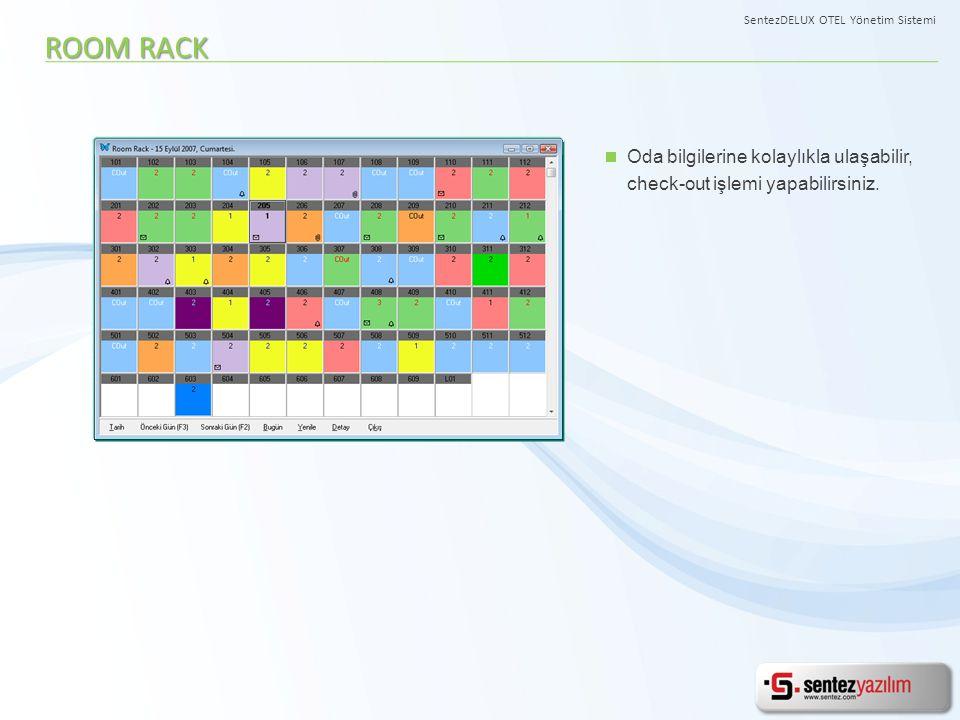 Oda bilgilerine kolaylıkla ulaşabilir, check-out işlemi yapabilirsiniz. ROOM RACK SentezDELUX OTEL Yönetim Sistemi