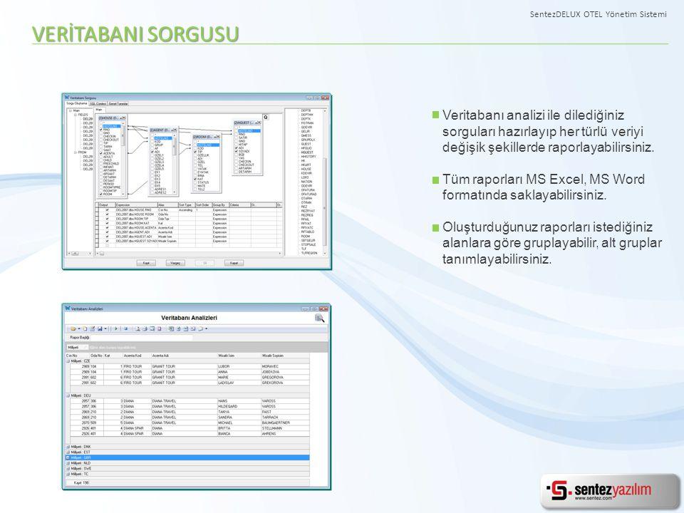 Veritabanı analizi ile dilediğiniz sorguları hazırlayıp her türlü veriyi değişik şekillerde raporlayabilirsiniz. Tüm raporları MS Excel, MS Word forma