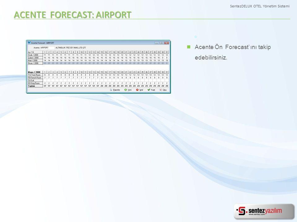 Acente Ön Forecast' ını takip edebilirsiniz. ACENTE FORECAST: AIRPORT SentezDELUX OTEL Yönetim Sistemi