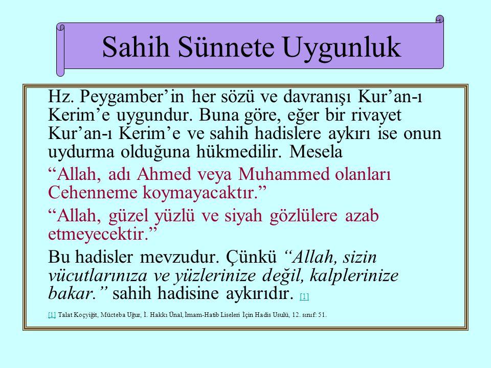 Sahih Sünnete Uygunluk Hz.Peygamber'in her sözü ve davranışı Kur'an-ı Kerim'e uygundur.