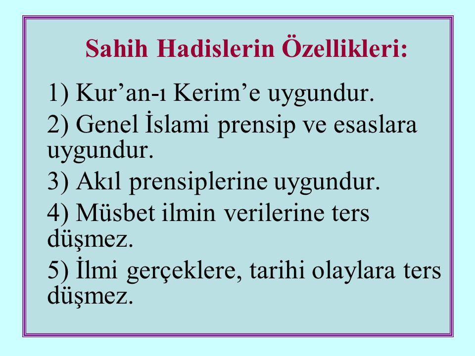 Sahih Hadislerin Özellikleri: 1) Kur'an-ı Kerim'e uygundur.