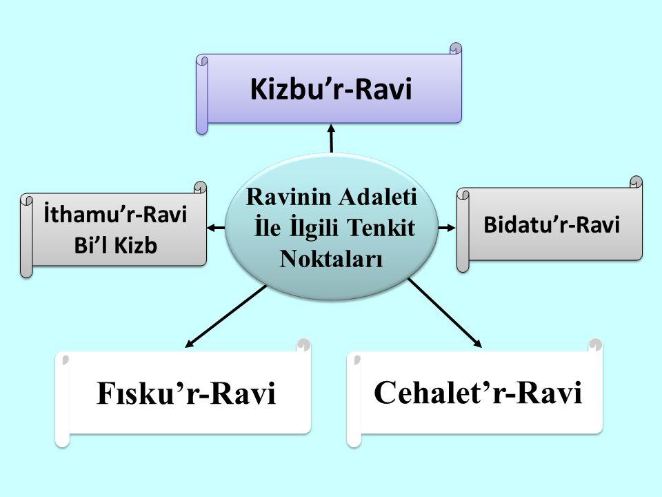 Cehalet'r-Ravi Kizbu'r-Ravi Bidatu'r-Ravi İthamu'r-Ravi Bi'l Kizb İthamu'r-Ravi Bi'l Kizb Fısku'r-Ravi Ravinin Adaleti İle İlgili Tenkit Noktaları Ravinin Adaleti İle İlgili Tenkit Noktaları