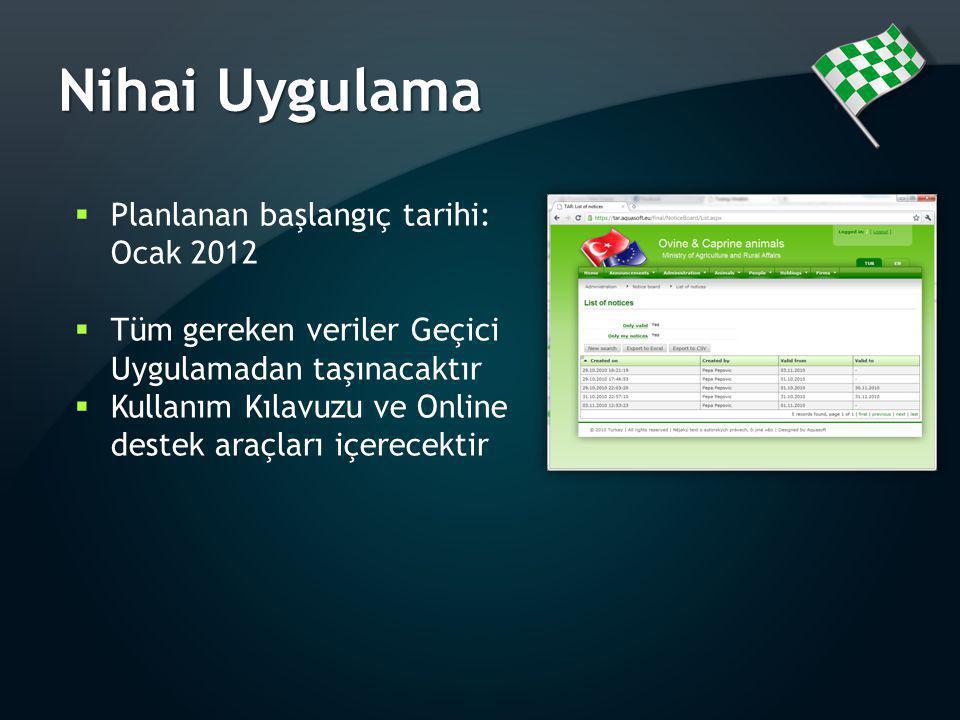 Nihai Uygulama  Planlanan başlangıç tarihi: Ocak 2012  Tüm gereken veriler Geçici Uygulamadan taşınacaktır  Kullanım Kılavuzu ve Online destek araç