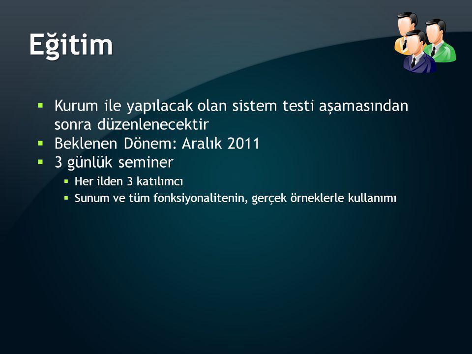 Eğitim  Kurum ile yapılacak olan sistem testi aşamasından sonra düzenlenecektir  Beklenen Dönem: Aralık 2011  3 günlük seminer  Her ilden 3 katılı