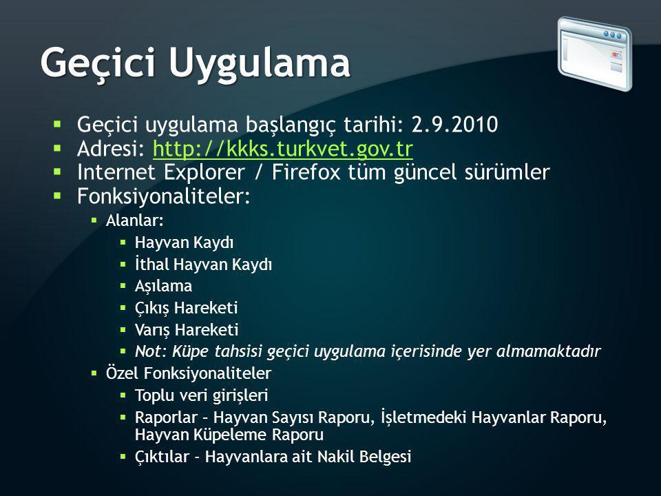 Geçici Uygulama  Geçici uygulama başlangıç tarihi: 2.9.2010  Adresi: http://kkks.turkvet.gov.trhttp://kkks.turkvet.gov.tr  Internet Explorer / Fire