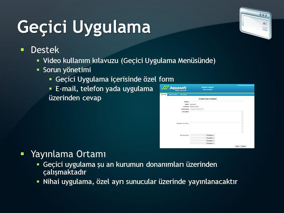 Geçici Uygulama  Destek  Video kullanım kılavuzu (Geçici Uygulama Menüsünde)  Sorun yönetimi  Geçici Uygulama içerisinde özel form  E-mail, telef