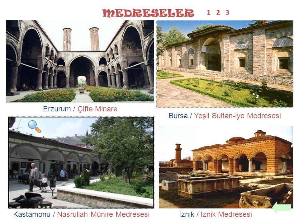 MEDRESELER Erzurum / Çifte Minare İznik / İznik MedresesiKastamonu / Nasrullah Münire Medresesi 11112 Bursa / Yeşil Sultan-iye Medresesi 3333