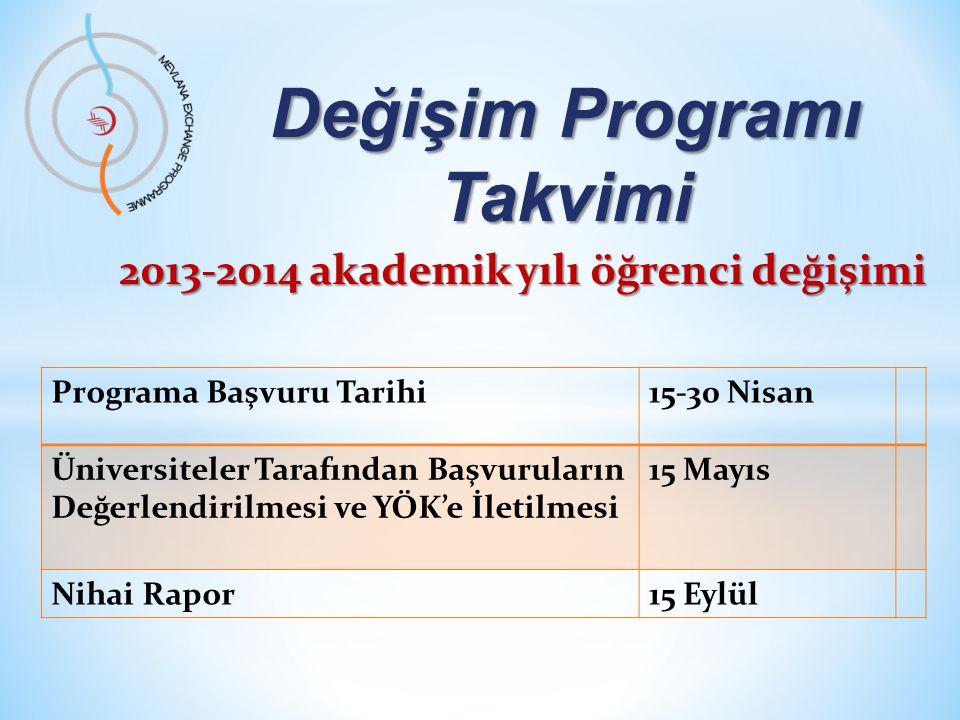 Değişim Programı Takvimi Programa Başvuru Tarihi15-30 Nisan Üniversiteler Tarafından Başvuruların Değerlendirilmesi ve YÖK'e İletilmesi 15 Mayıs Nihai Rapor15 Eylül 2013-2014 akademik yılı öğrenci değişimi
