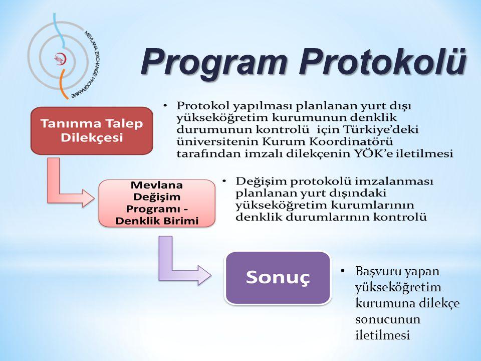 Program Protokolü Program Protokolü Mevlana Değişim Programı Kurum Koordinatörlüğü • Sonuç olumlu ise, başvuru sahibi kurum; • Protokol yapabilir, • Öğrenci/öğretim elemanı değişim sürecini başlatabilir.