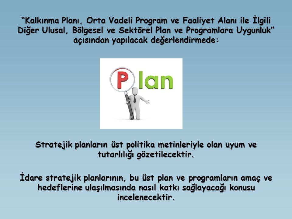"""""""Kalkınma Planı, Orta Vadeli Program ve Faaliyet Alanı ile İlgili Diğer Ulusal, Bölgesel ve Sektörel Plan ve Programlara Uygunluk"""" açısından yapılacak"""