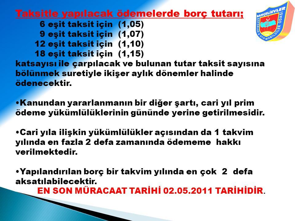 Taksitle yapılacak ödemelerde borç tutarı; 6 eşit taksit için (1,05) 9 eşit taksit için (1,07) 12 eşit taksit için (1,10) 18 eşit taksit için (1,15) k