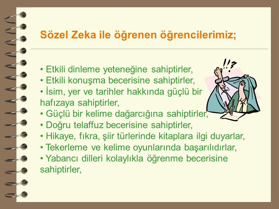 Sözel Zeka ile öğrenen öğrencilerimiz; • Etkili dinleme yeteneğine sahiptirler, • Etkili konuşma becerisine sahiptirler, • İsim, yer ve tarihler hakkı