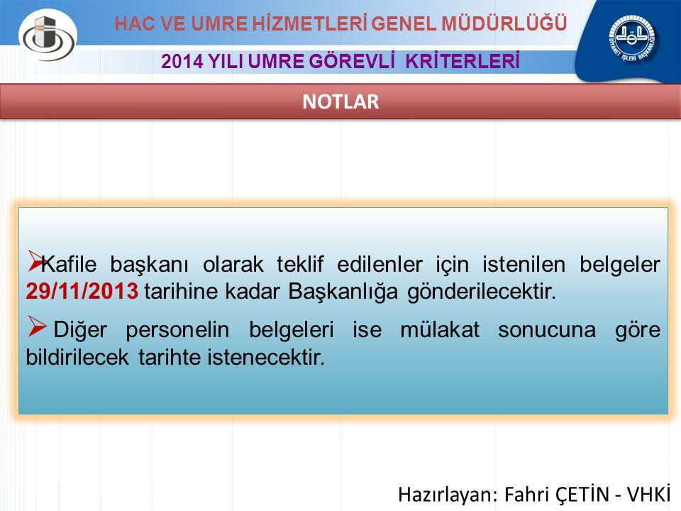  Kafile başkanı olarak teklif edilenler için istenilen belgeler 29/11/2013 tarihine kadar Başkanlığa gönderilecektir.  Diğer personelin belgeleri is