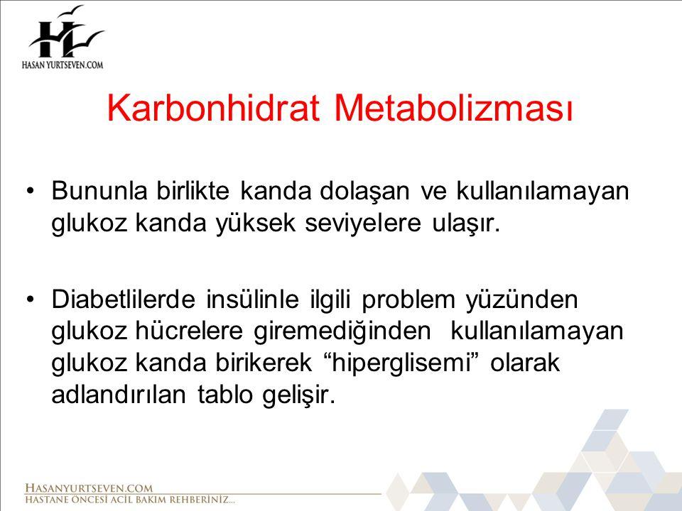 •Bununla birlikte kanda dolaşan ve kullanılamayan glukoz kanda yüksek seviyelere ulaşır.