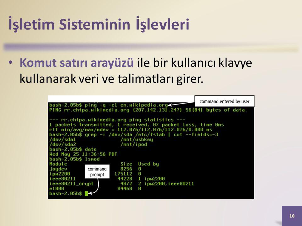 İşletim Sisteminin İşlevleri • Komut satırı arayüzü ile bir kullanıcı klavye kullanarak veri ve talimatları girer. 10
