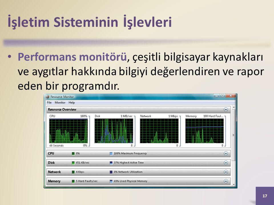 İşletim Sisteminin İşlevleri • Performans monitörü, çeşitli bilgisayar kaynakları ve aygıtlar hakkında bilgiyi değerlendiren ve rapor eden bir program