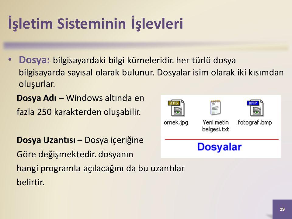 İşletim Sisteminin İşlevleri • Dosya: bilgisayardaki bilgi kümeleridir. her türlü dosya bilgisayarda sayısal olarak bulunur. Dosyalar isim olarak iki