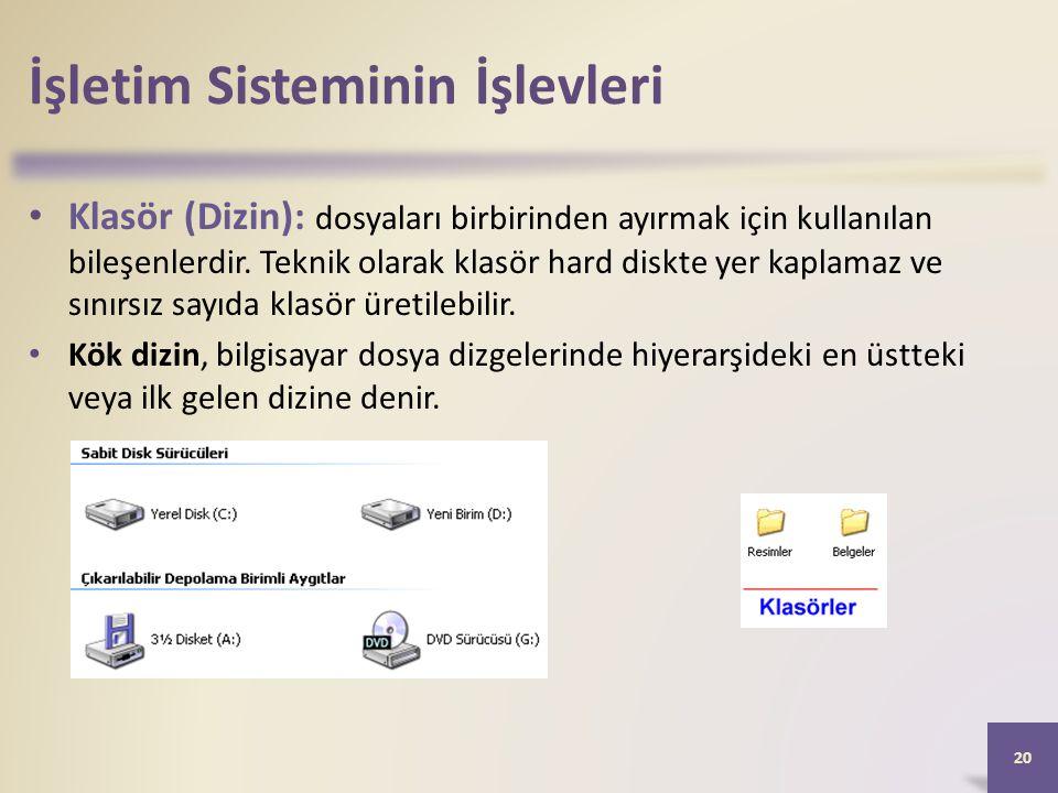 İşletim Sisteminin İşlevleri • Klasör (Dizin): dosyaları birbirinden ayırmak için kullanılan bileşenlerdir. Teknik olarak klasör hard diskte yer kapla