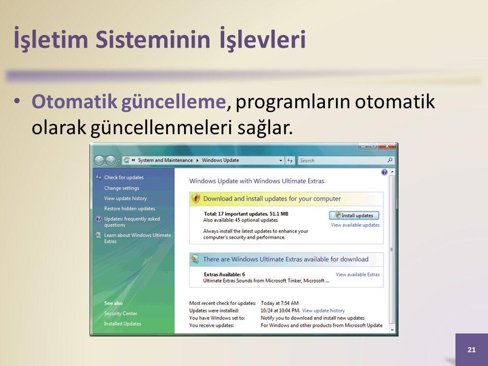 İşletim Sisteminin İşlevleri • Otomatik güncelleme, programların otomatik olarak güncellenmeleri sağlar. 21