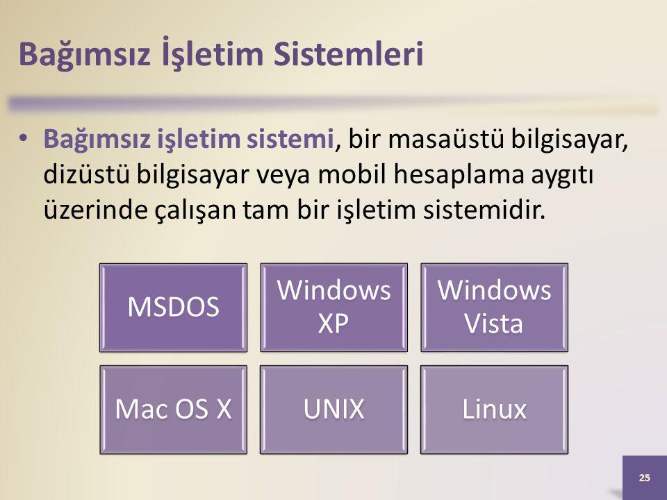 Bağımsız İşletim Sistemleri • Bağımsız işletim sistemi, bir masaüstü bilgisayar, dizüstü bilgisayar veya mobil hesaplama aygıtı üzerinde çalışan tam b