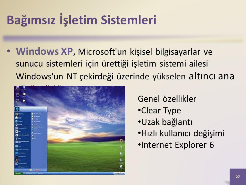Bağımsız İşletim Sistemleri • Windows XP, Microsoft'un kişisel bilgisayarlar ve sunucu sistemleri için ürettiği işletim sistemi ailesi Windows'un NT ç