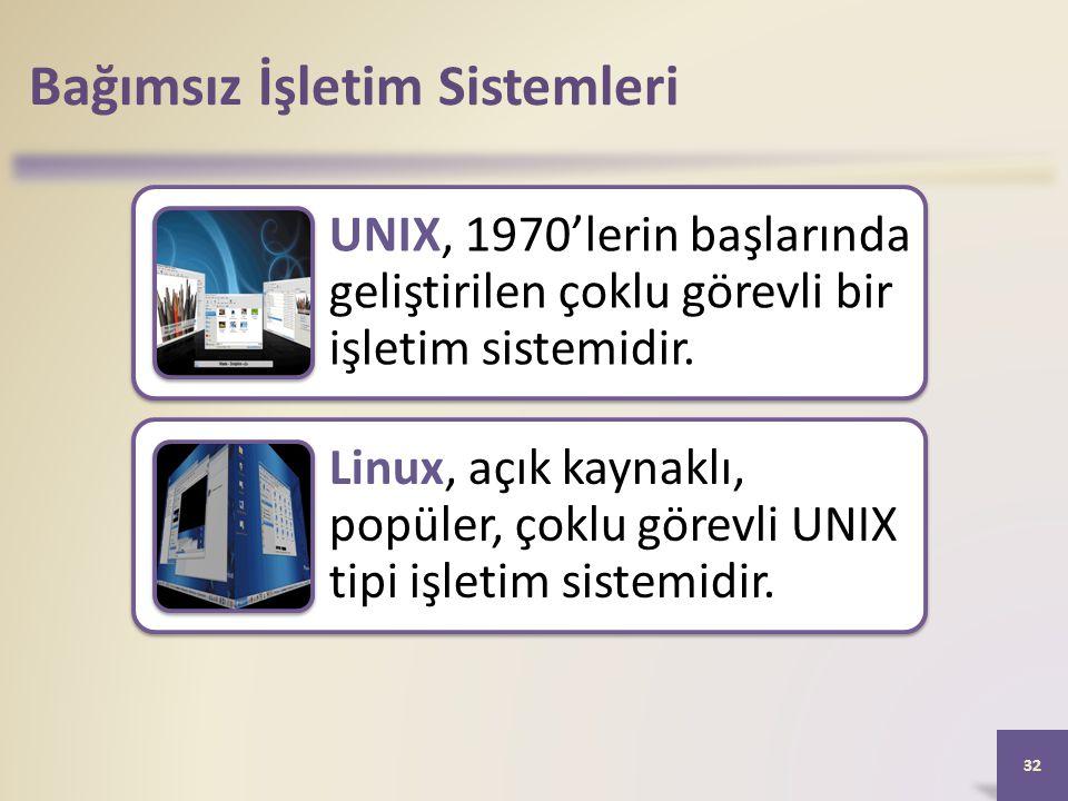 Bağımsız İşletim Sistemleri UNIX, 1970'lerin başlarında geliştirilen çoklu görevli bir işletim sistemidir. Linux, açık kaynaklı, popüler, çoklu görevl